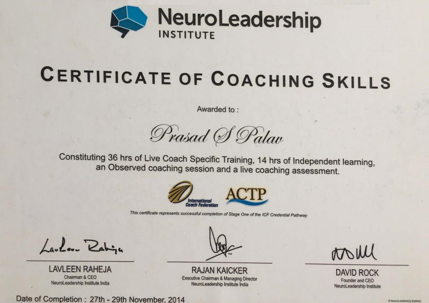 Coaching certificate NLI